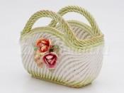 """Корзина """"Цветы"""" в форме сумки 22 см."""
