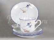 """Набор чашек для кофе высоких с блюдцами 150 мл. 6 шт. """"Гуси"""" Мэри-Энн"""