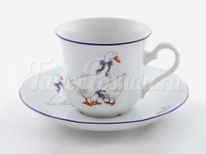 """Набор чашек для чая высоких с блюдцами 200 мл. 6 шт. """"Гуси"""" Мэри-Энн"""