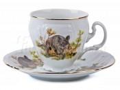 """Набор для кофе """"Бернадот Охота"""" чашка высокая 140 мл. и блюдце на 6 персон 12 предметов"""