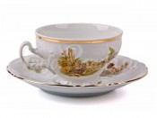 """Набор для чая """"Бернадот Охота"""" чашка низкая 155 мл. и блюдце на 6 персон 12 предметов"""