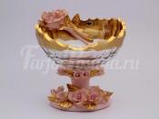 """Ваза для фруктов """"Розовые розы"""" золото"""