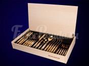 """Набор столовых приборов Бугатти """"Rinascimento Ivory Gold"""" 24 предмета на 6 персон золото в подарочной упаковке из ясеня"""